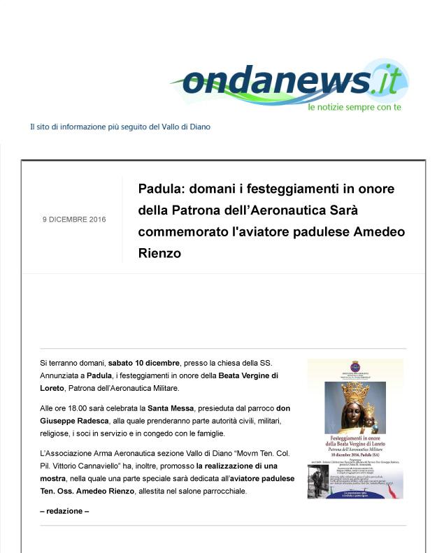 Ondanews_Padula_domani_festeggiamenti_Patrona_Aeronautica_08.12.2016